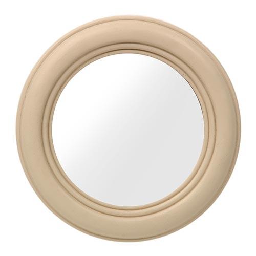 Espelho Bege Redondo Pequeno - 23x3 cm