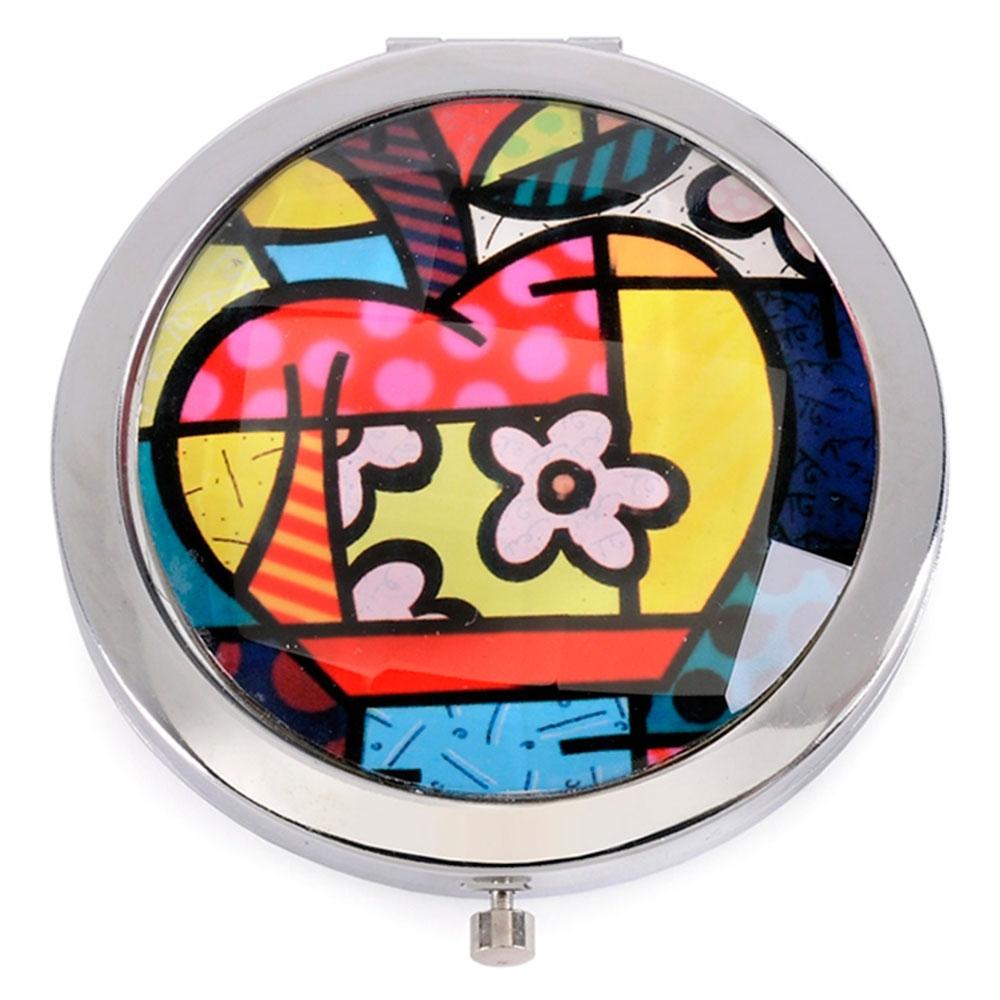 Espelho de Bolsa Apple - Romero Britto - em Alumínio - 7x1 cm