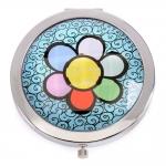Espelho de Bolsa Flower - Romero Britto - em Alumínio - 7x1 cm