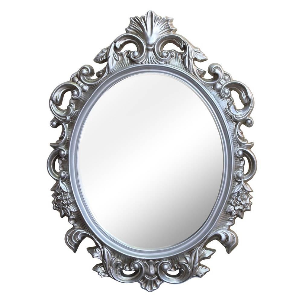Espelho Cannes Prata com Moldura em Resina - 94x69 cm