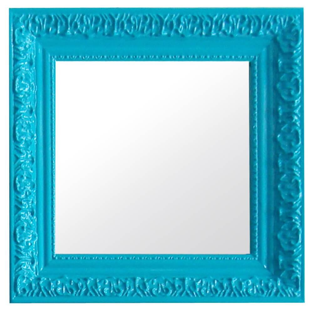 Espelho Charm Quadrado Azul em MDF - Urban - 30x30 cm