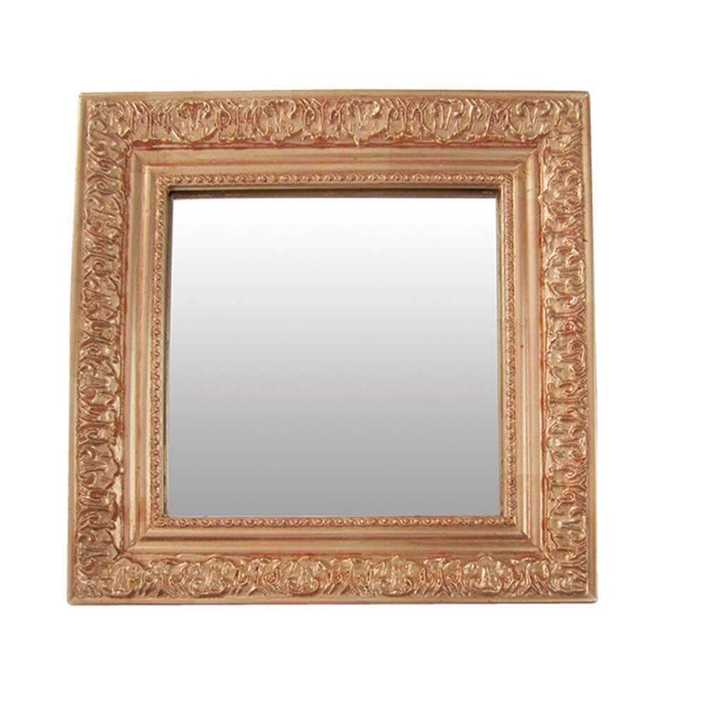 Espelho Charm Quadrado Dourado em MDF - Urban - 30x30 cm