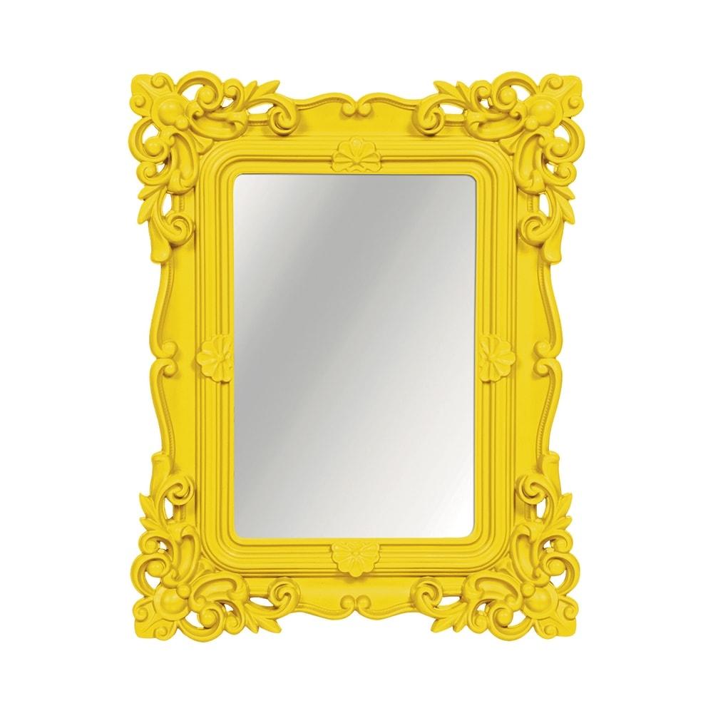 Espelho Classic Arabescos Amarelo Médio Retangular - 36,2x31 cm