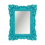 Espelho Classic Arabescos Azul Médio Retangular - 36,5x31 cm