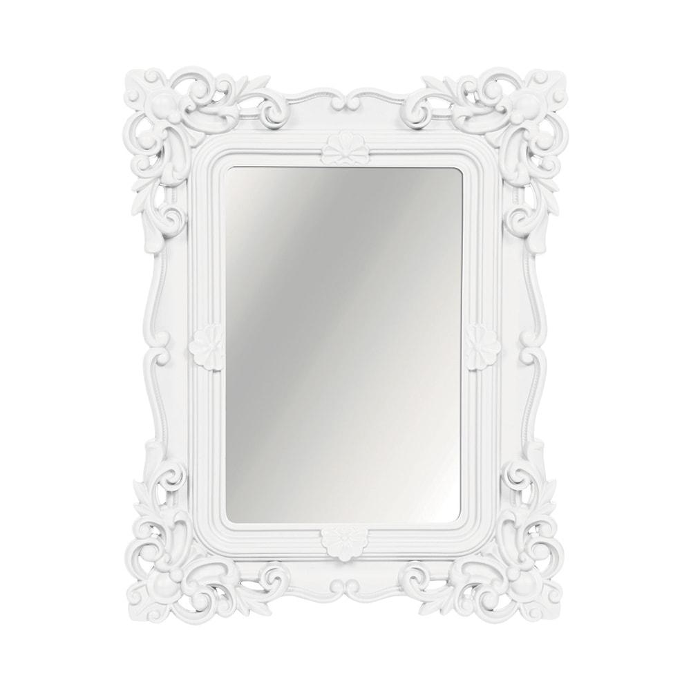 Espelho Classic Arabescos Branco Médio Retangular - 36,5x31 cm