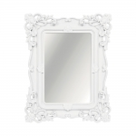 Espelho Classic Arabescos Branco Retangular - 32x26 cm