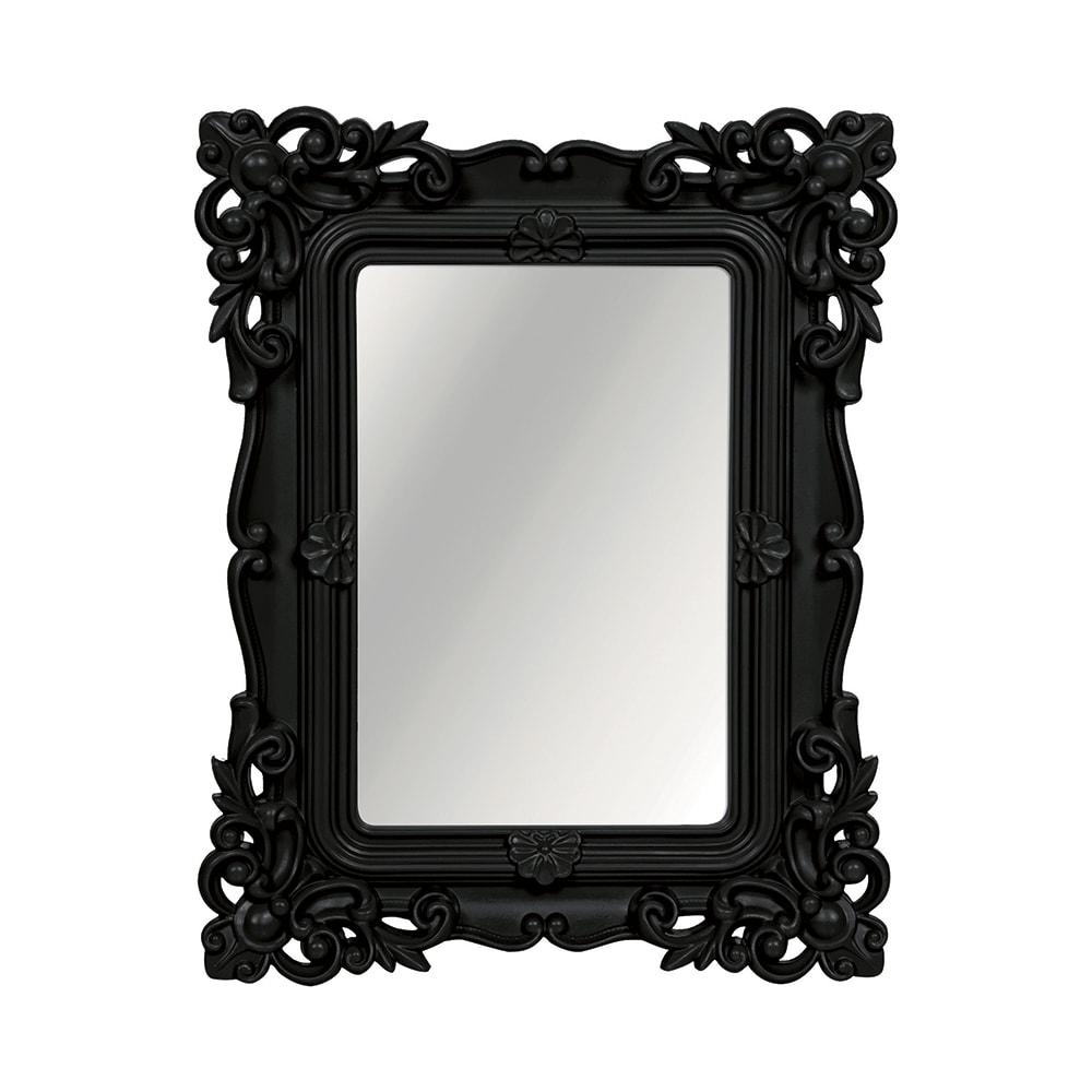 Espelho Classic Arabescos Preto Médio Retangular - 36,5x31 cm