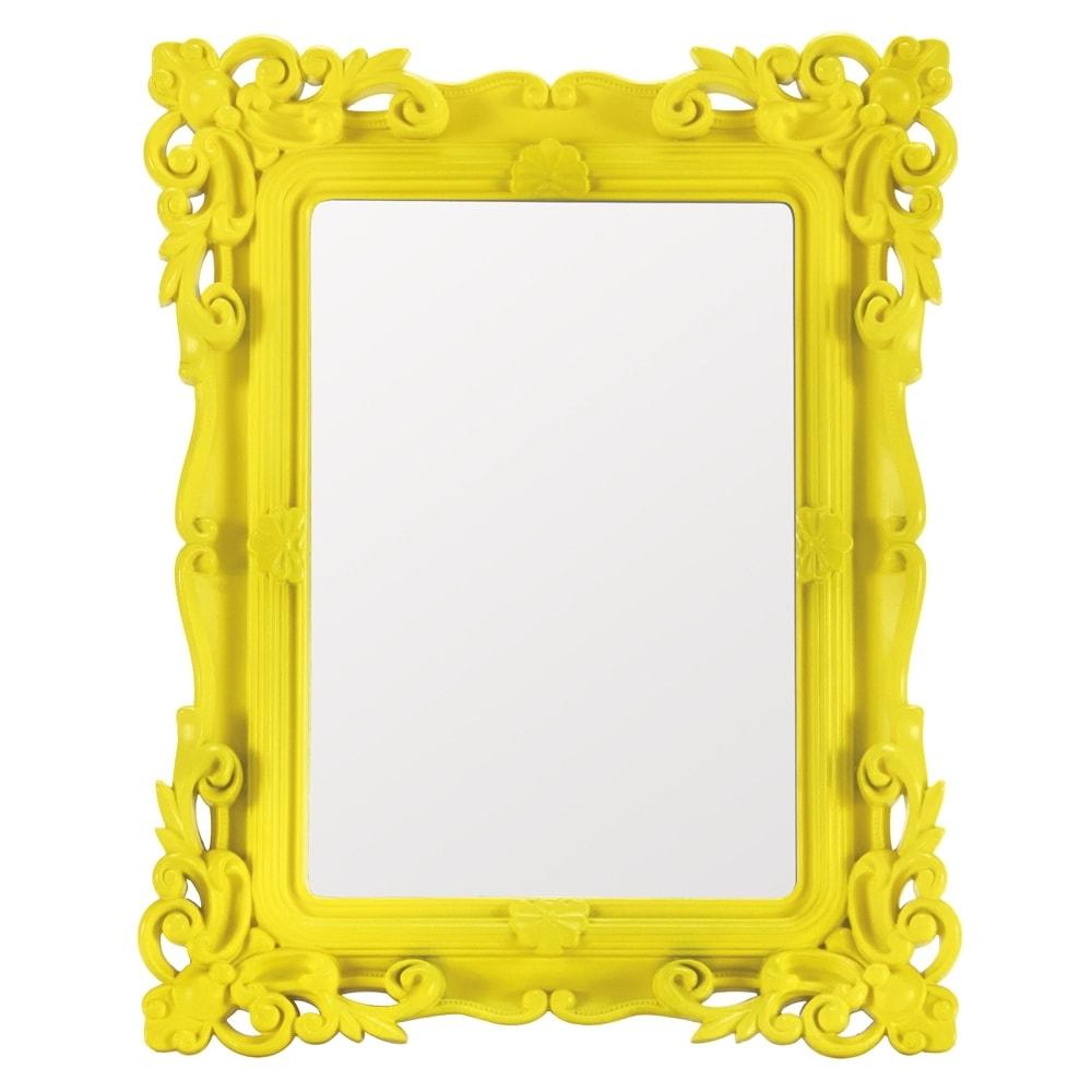 Espelho Classic Design Amarelo Pequeno - 21,5x16,5 cm