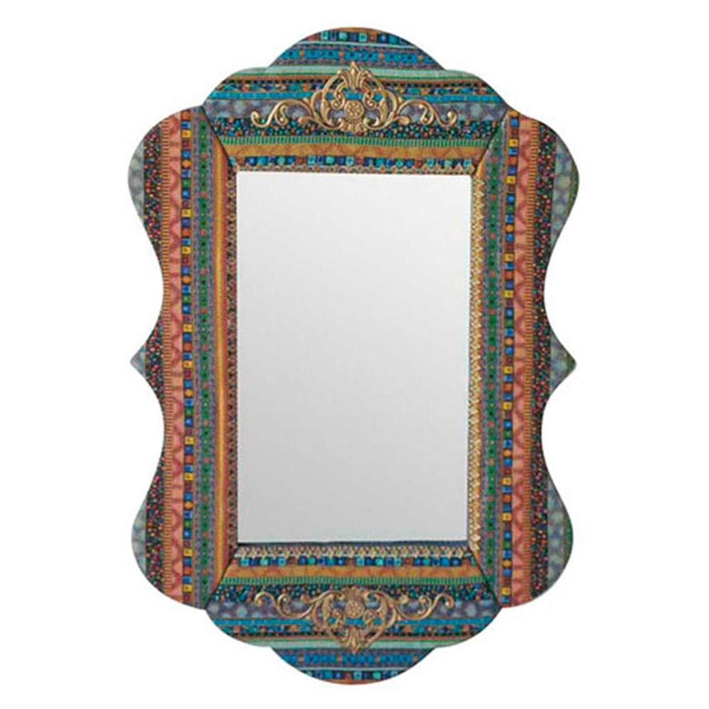 Espelho Colorido com Moldura Revestida em Tecido - 92x61 cm