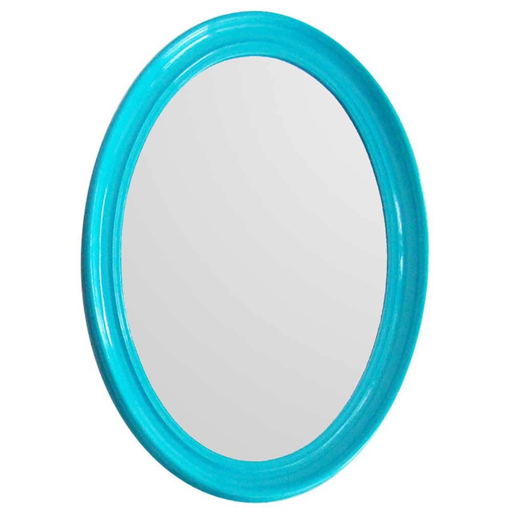 Espelho Contemporary Oval Azul em MDF - Urban - 70x50 cm