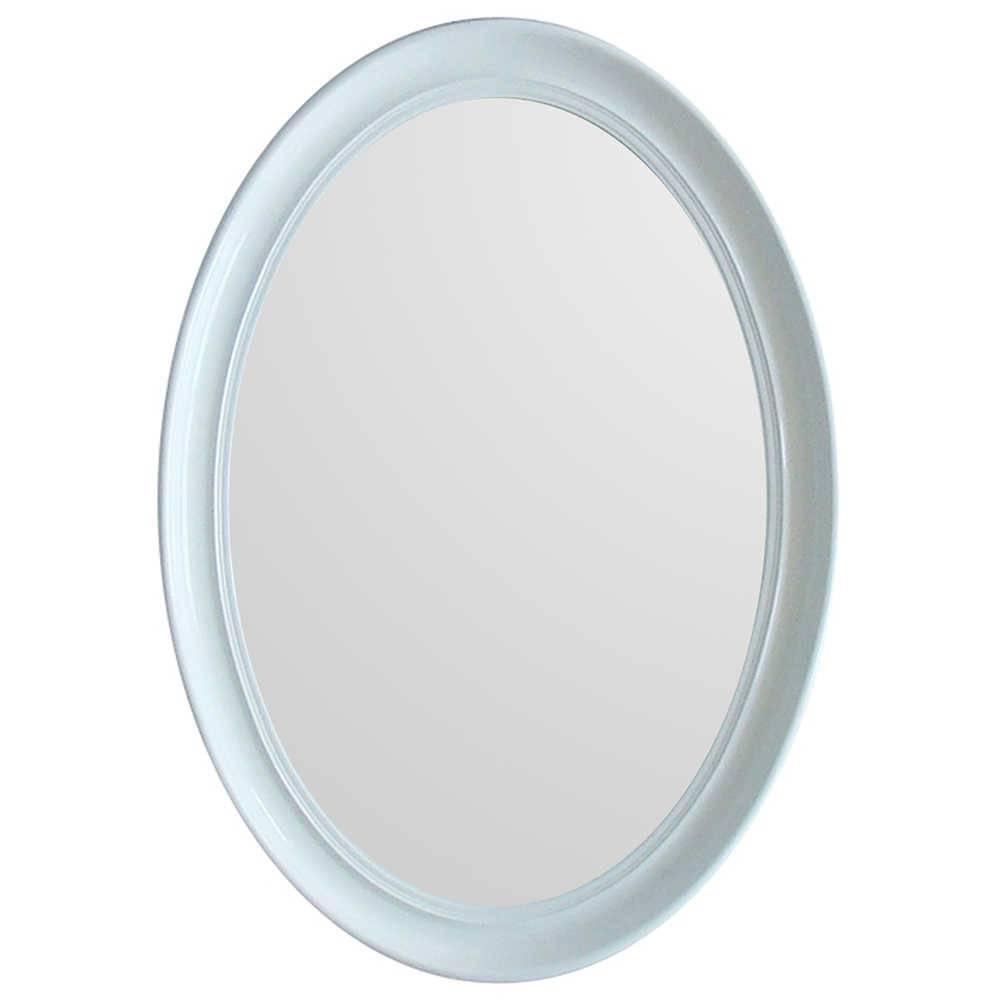 Espelho Contemporary Oval Branco em MDF - Urban - 70x50 cm