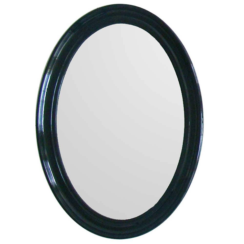 Espelho Contemporary Oval Preto em MDF - Urban - 70x50 cm