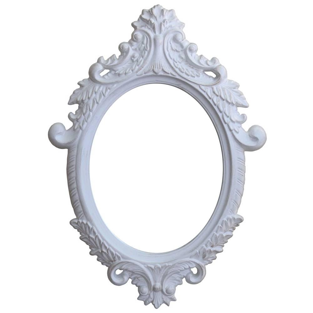 Espelho Dijon Branco com Moldura em Resina - 87x62 cm