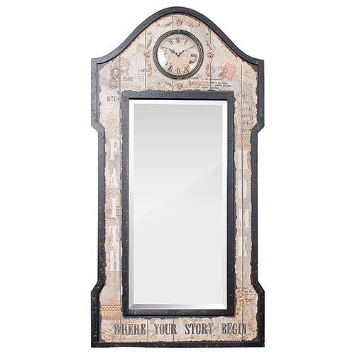 Espelho Facet com Relógio Faith Home Oldway - 121x61 cm