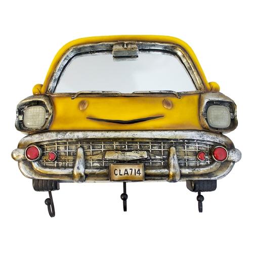 Espelho Frente de Carro Amarelo c/ Gancheira Oldway - 44x38 cm