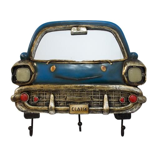 Espelho Frente de Carro Azul c/ Gancheira Oldway - 44x38 cm