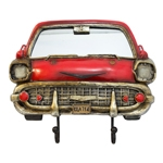 Espelho Frente de Carro Vermelho c/ Gancheira Oldway - 44x38 cm