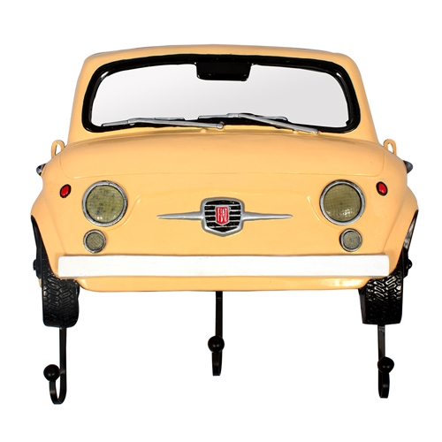 Espelho Frente Fiat 500 Amarelo c/ Gancheira Oldway - 62x54 cm