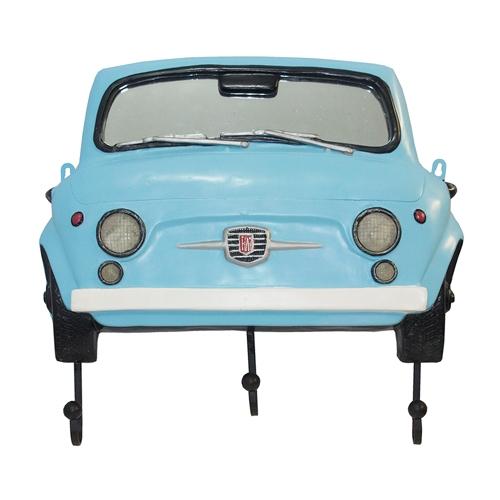 Espelho Frente Fiat 500 Azul c/ Gancheira Oldway - 62x54 cm