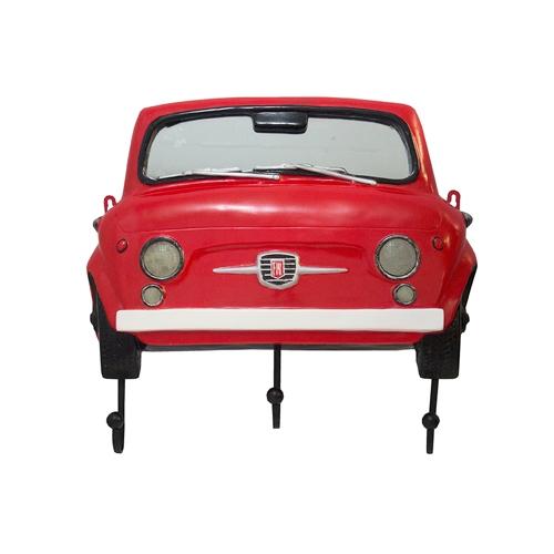 Espelho Frente Fiat 500 Vermelho c/ Gancheira Oldway - 62x54 cm