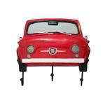 Espelho Frente Fiat 500 Vermelho c/ Gancheira Oldway