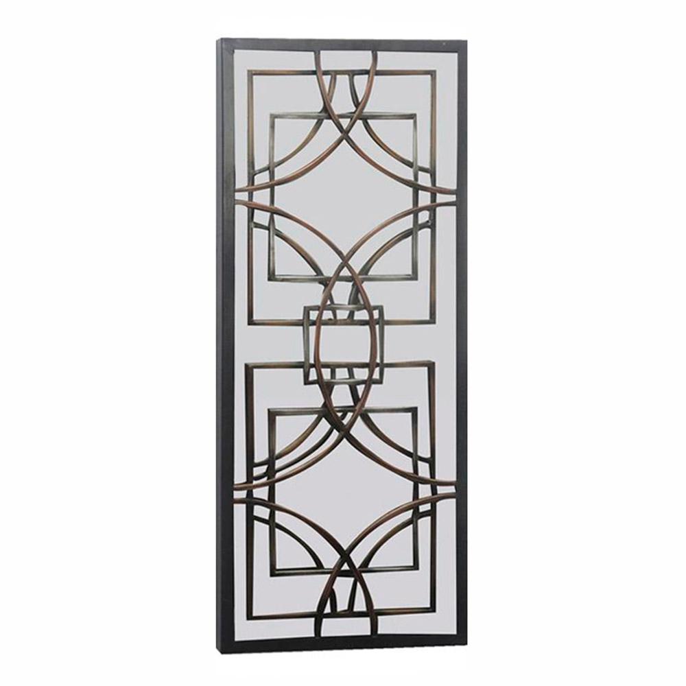 Espelho Gold Retangular Aramado Moldura em Metal - 76x30,5 cm
