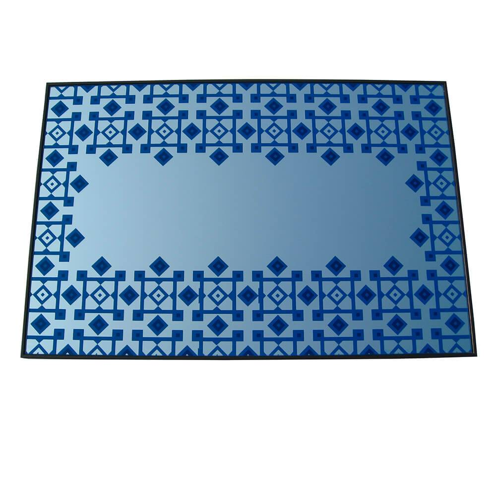 Espelho Indigo Losangos Azul em Vidro - Urban - 60x40 cm