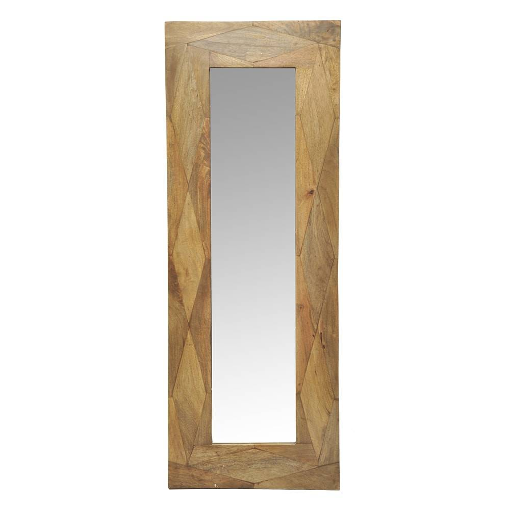 Espelho Lenna Rústico Natural em Madeira - 120x46 cm