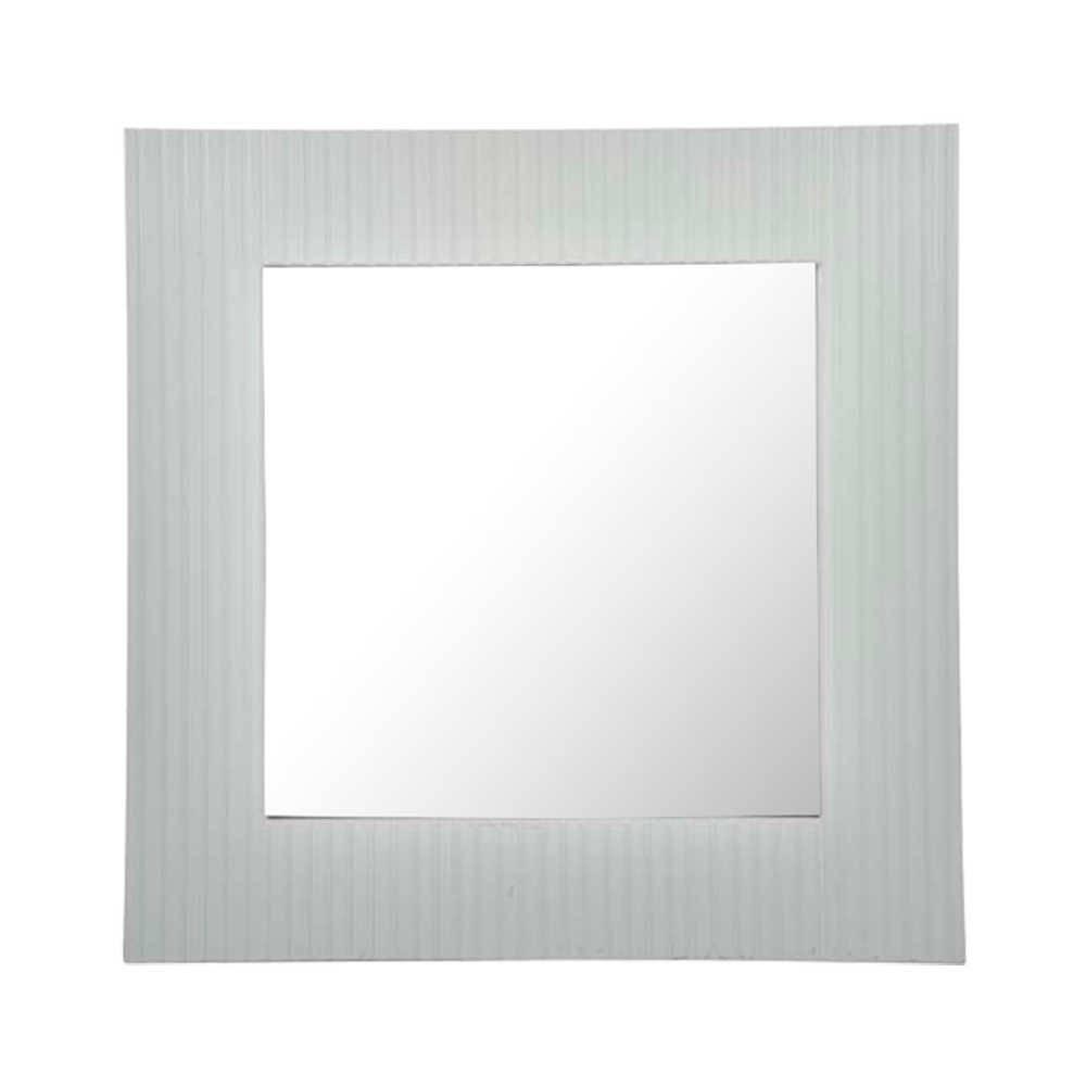 Espelho Lines Quadrado Branco em Vidro - 88x88 cm