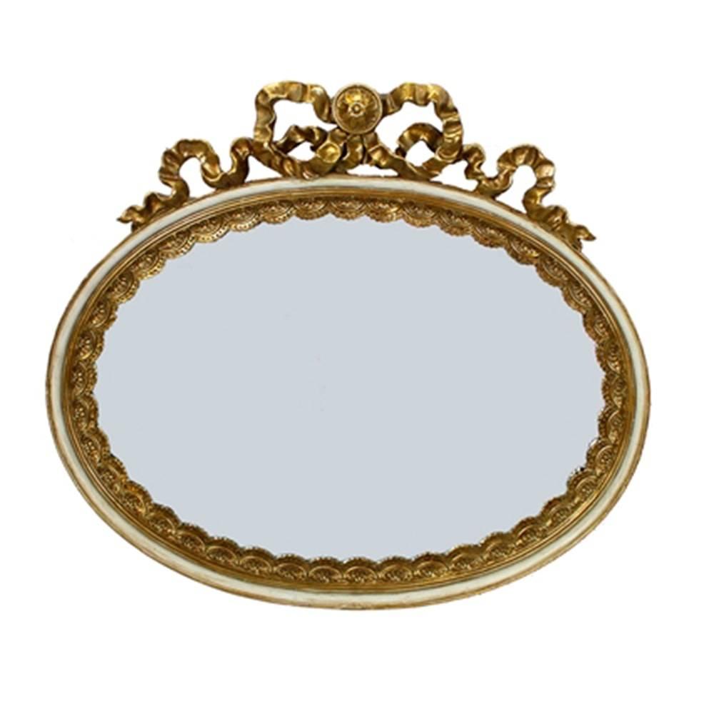 Espelho Luxo Laço e Ondinha Dourado em Resina - 33x29 cm