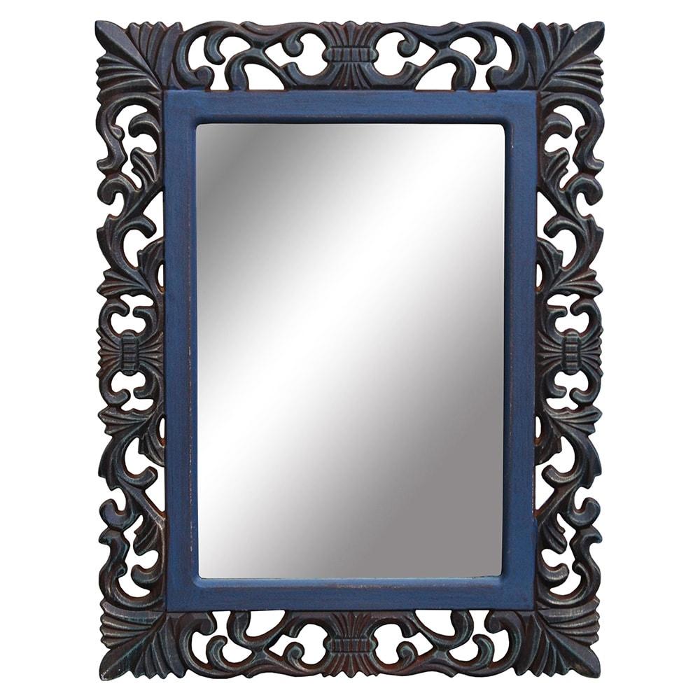 Espelho Mantua Azul em Madeira - 52x40 cm