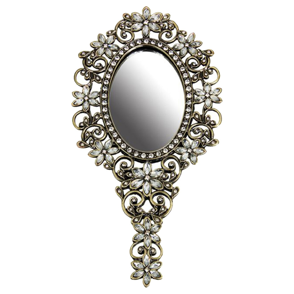 Espelho de Mão Champanha - com Pedrarias em Metal - 22x11 cm