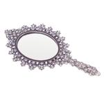 Espelho de Mão Lea com Pedrarias em Metal - 22x11 cm