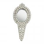 Espelho de Mão Pérolas Brancas em Metal - 20x9 cm