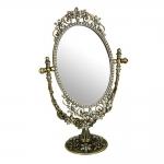 Espelho de Mesa Brilliant Dourado em Liga de Zinco e Estanho - 30x18 cm