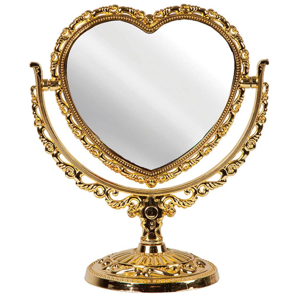 Espelho de Mesa Coração Dourado Grande - 2 Lados - Urban - 25x21,5