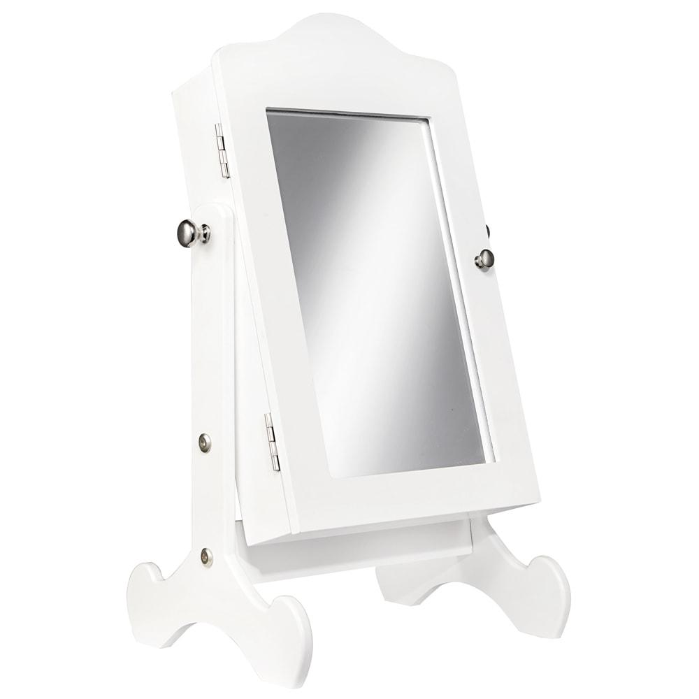 Espelho De Mesa Jewelry Cabinet Branco Em Mdf 44x25 Cm Compre