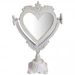 Espelho de Mesa Mimo Heart Branco em Metal - 35x23 cm