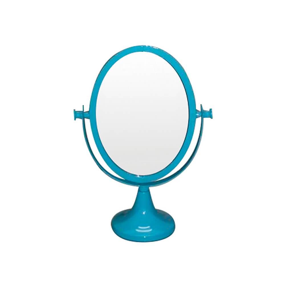 Espelho de Mesa Romantic Oval 2 Lados Azul em Metal - Urban - 25x12 cm