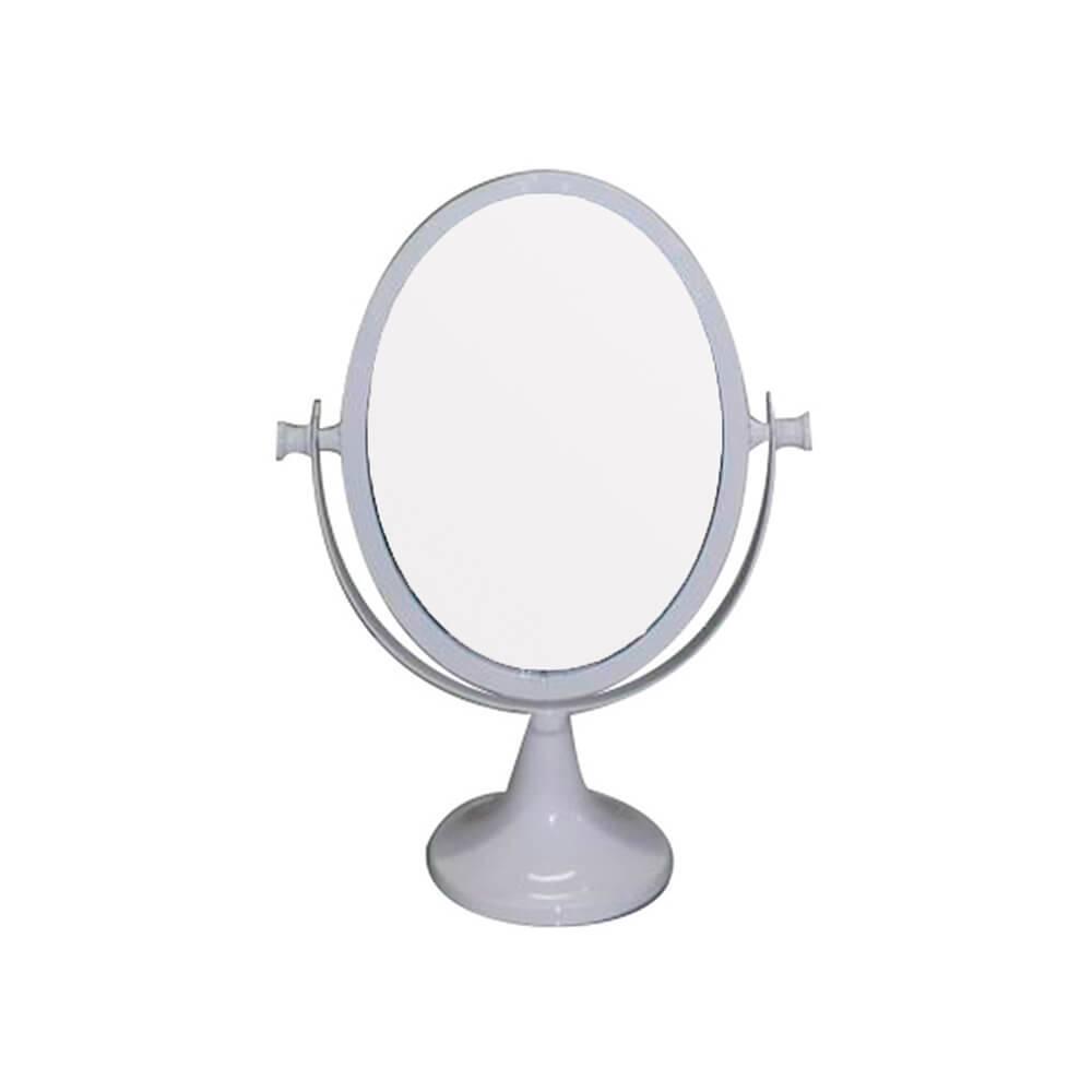 Espelho de Mesa Romantic Oval 2 Lados Branco em Metal - Urban - 25x12 cm