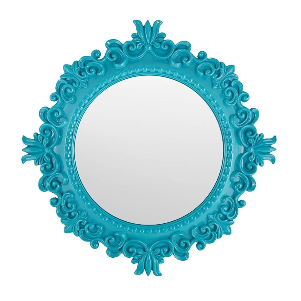 Espelho com Moldura de Arabescos Azul em Resina - 48 cm