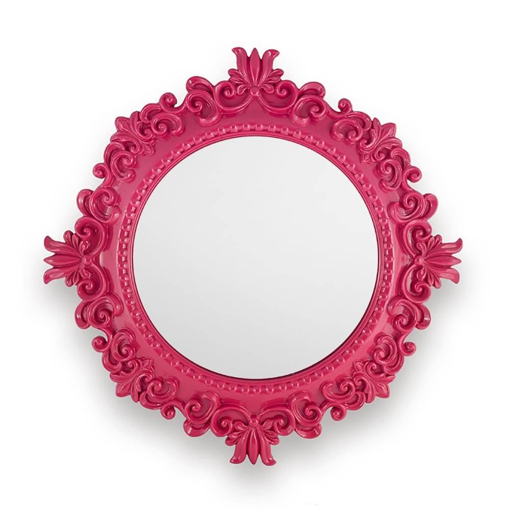 Espelho com Moldura de Arabescos Rosa em Resina - 48 cm