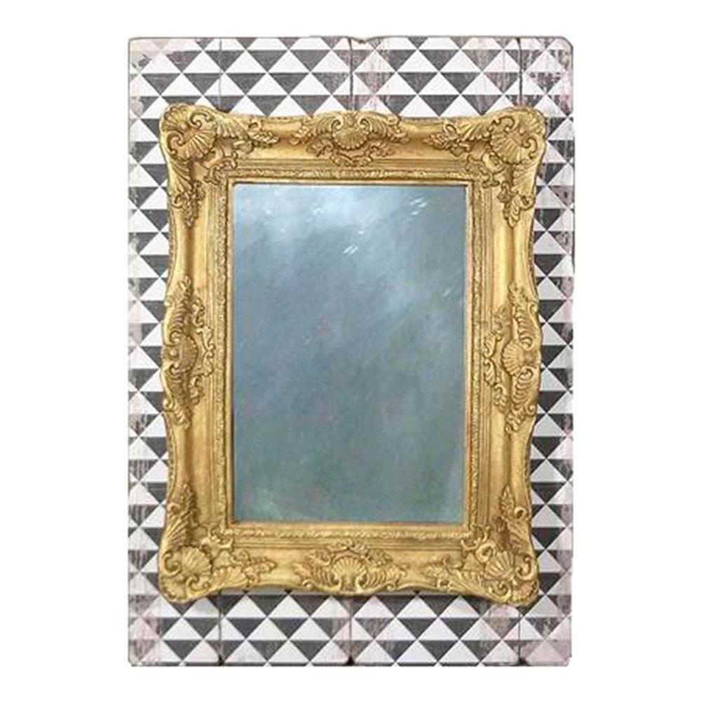 Espelho Moldura Retangular Dourada Fundo Preto e Branco em Madeira e Vidro - 72x51,5 cm