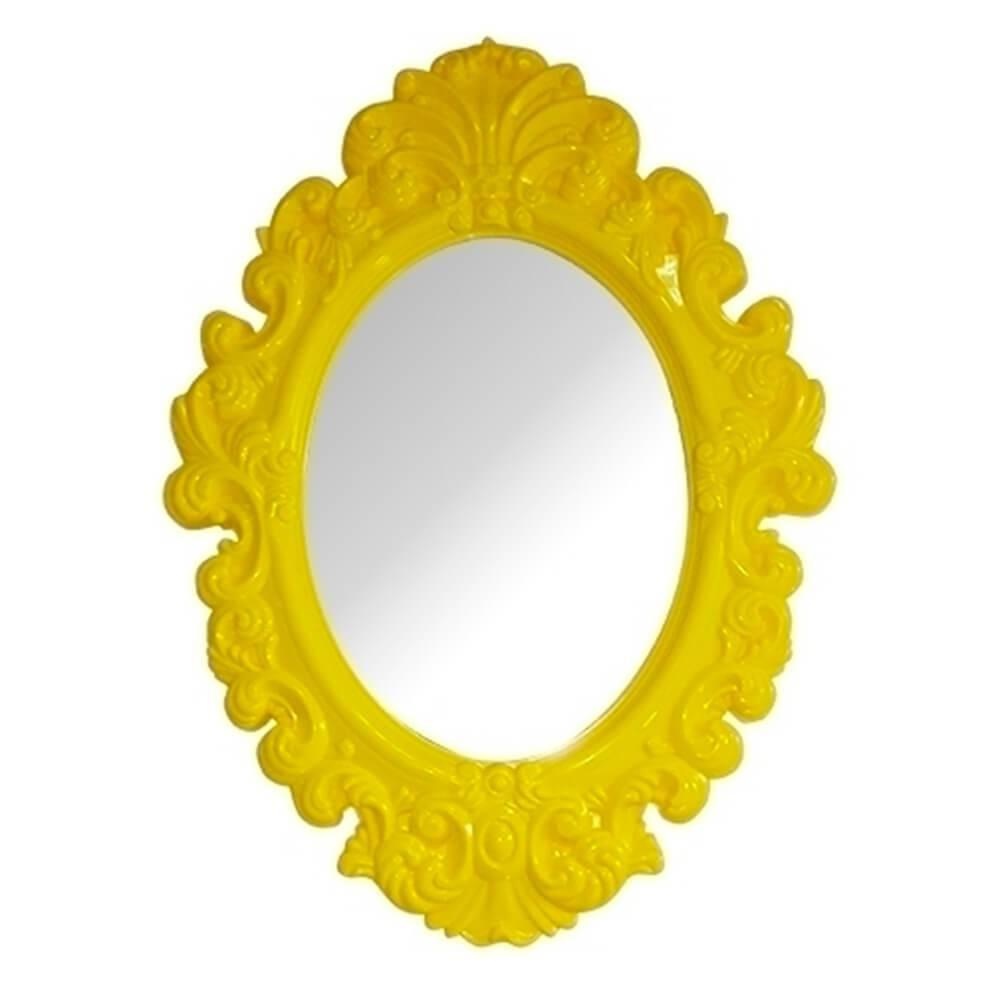 Espelho Oval Big Princess Amarelo Pequeno - Urban - 41,4x30,2 cm