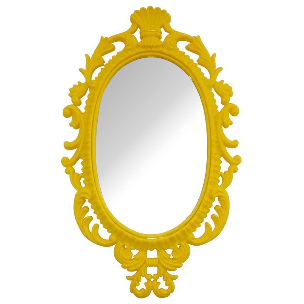 Espelho Oval Giant Princess Amarelo em Vidro - Urban - 73x44 cm