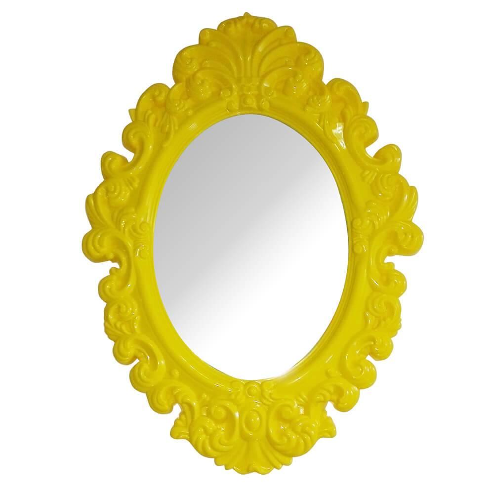 Espelho Oval Medium Amarelo - Urban - 51x38 cm