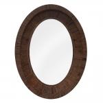 Espelho Oval com Moldura em Madeira - 132x103 cm