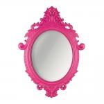 Espelho Oval Rococó com Arabescos Rosa - 72,5x52,5 cm