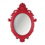 Espelho Oval Rococó com Arabescos Vermelho - 72,5x52,5 cm