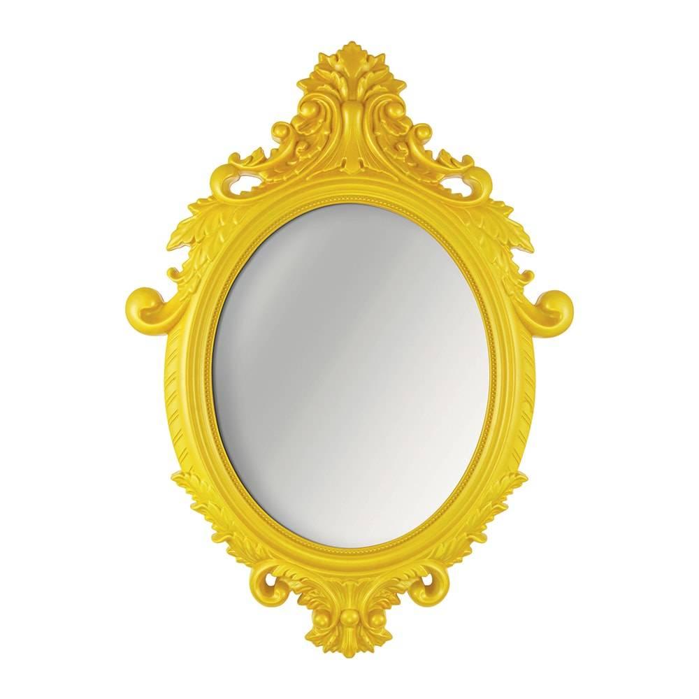 Espelho Oval Rococo Grande com Moldura Amarela - 72,5x52,5 cm